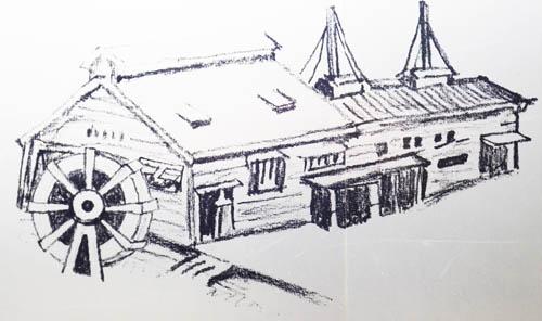 鉛筆工場の水車