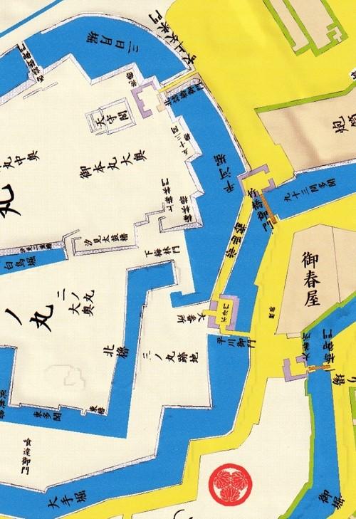 平川門あたり江戸切り絵図