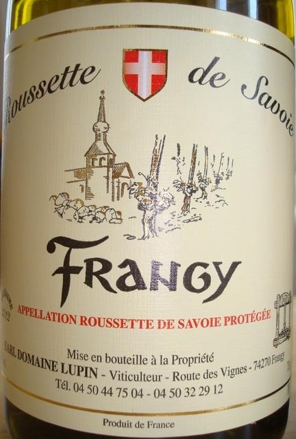 Frangy Roussette de Savoire Domaine Lupin 2012