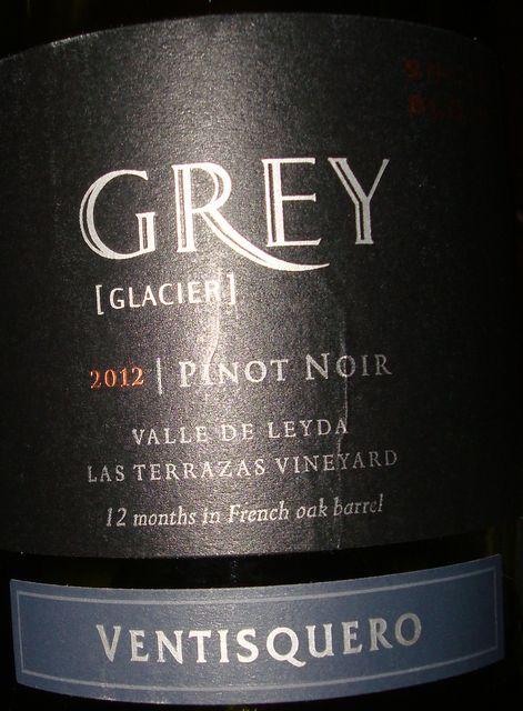 Grey Clacier Pinot noir Valle de Leyda Las Terrazas Vineyard  Ventisquero 2012