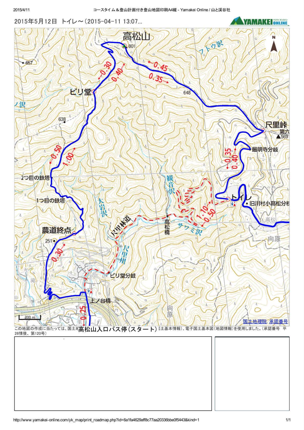 s高松山・松田山 コースタイム 登山地図(1)- Yamakei Online
