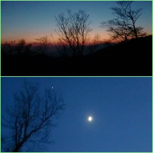 026 夕日と月