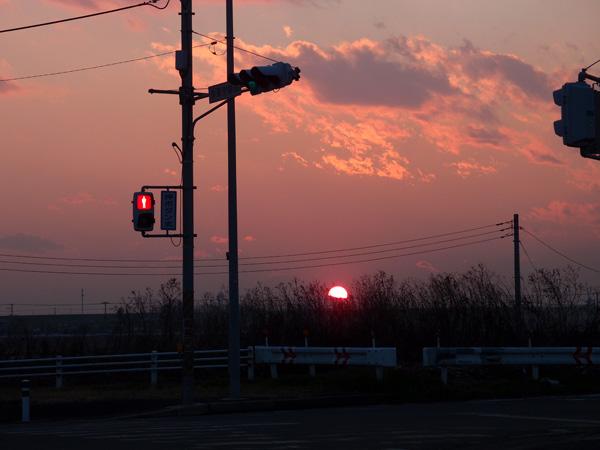 赤信号と夕陽