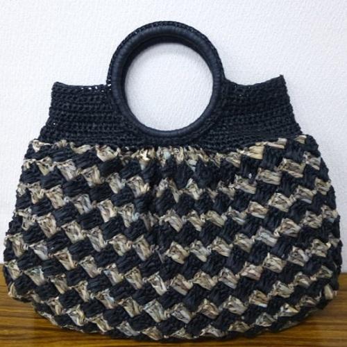 516スーパー和紙リボン石垣編みのバッグお色違い
