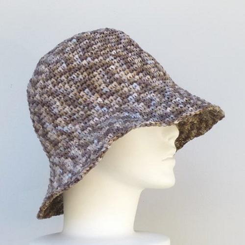 572スーパー和紙リボン折りたたみOK女優帽横向き