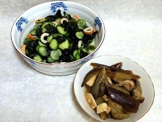 150619_3230胡瓜とワカメの酢の物・茄子と薄揚げの煮物VGA