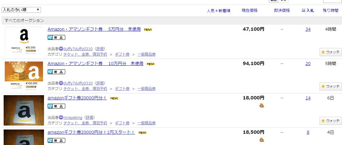 ヤフオク/Amazonギフト券の検索結果