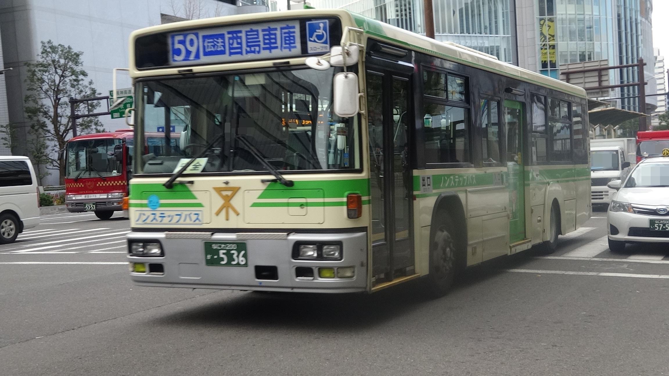 乗り物と旅行のBLOG 大阪市営バス 74-0536 日産ディーゼル工業 UA ...